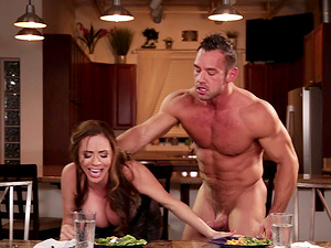 Busty MILF Ariella Ferrera bends over for a lover's prick