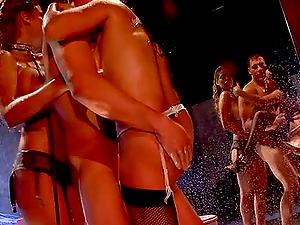 Bridgette B fucks Chris Johnson and licks Sienna West's cunt at the same time