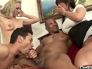 Two bisexual dudes and two horny honeys are having  fucky-fucky
