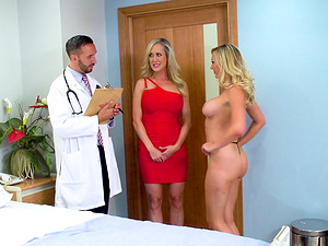 Brandi Love and Brett Rossi team up for a shag with a handsome doctor