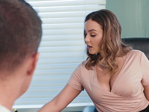 Natasha Nice spreads her legs on a desk for a hard cock