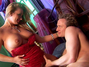 Gorgeous blonde in red stockings gets to ride a boner