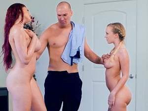 Skyla Novea and Bailey Brooke are curious about a hunk's dick
