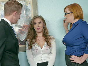 Office threesome is the best day at work for Lauren Phillips and Lena Paul
