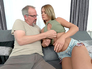 Lara West seduced by an eldery man for a hot sex session