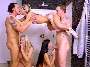 Eveline Dellai and Gina Gerson have a blast during a winter orgy