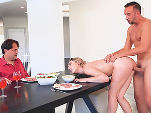Lily Labeau fucked hard on a table in front of a kinky man
