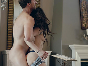 Kimber Woods lets a fellow penetrate her tight anal hole
