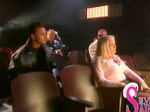 Sexy blonde damsel gets fucked prettily in the cinema