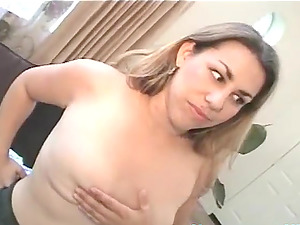 Natural tits chubby with big tits fingering her wet pussy