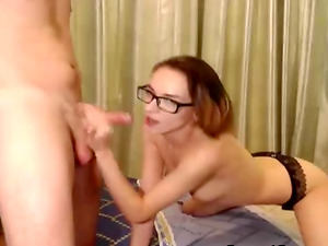 Wild Nerdy Babe Enjoying Oral Sex