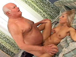 Adorable blonde cutie getting fucked by old fart