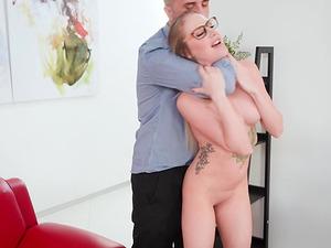 Jenna Jones is a nasty blonde with glasses craving a fat boner