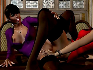 Sexy lesbian women have bottomless sex in clothes in a castle room