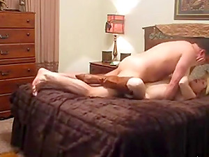 Hot blonde wearing a cowboy hat and boots gets enjoyed by some guy