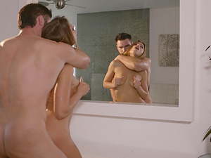 Babe wearing a sexy thong Adriana Chechik has a big cock to suck