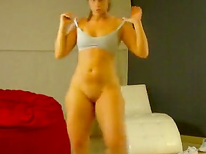 Silly ass brunette girl doing a nice striptease dance in front of the webcam.