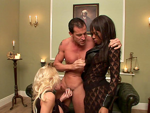 Ebony Godde and Cindy Behr getting boned by the same fellow