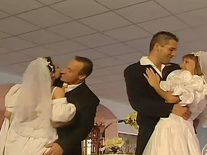 Two horny married couples fucking right after the wedding