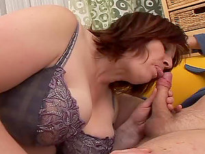 Tricky fellow fucking fat granny on a yellow sofa