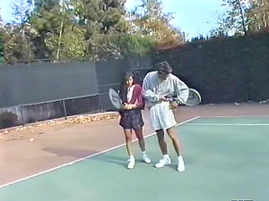 Xxx Fucking on the Tennis Court for Retro Adult movie star Alex Dane