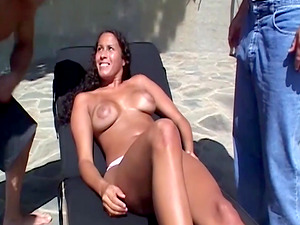 My Exotic Dirty Tanned Girlfriend Fucks Two Strangers