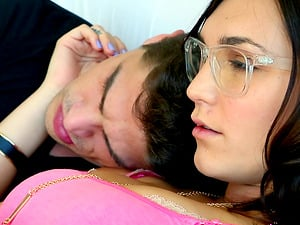 The stud of Holly Michaels lying down as she pleases his wiener
