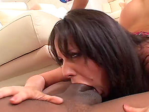 Hot Latina in mini microskirt has a deep facehole to drink a hard-on