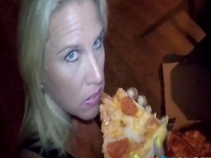 Pizza delivery guy feeds my wife some cum