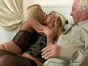 Old guy gets to pleasure horny Nikky Thorne and her hot friend