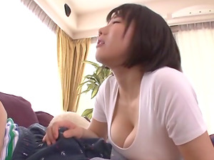 Busty Kaho Shibuya rides a long dong while her tits bounce up and down