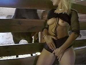 Divine blondie fervor gets dual fucked in the farm