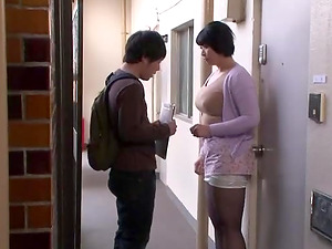 Hot Yagi Michika gets talked into slurping on a long fat dick