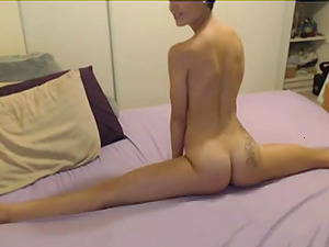 Cute girl shoves a dildo down her throat and gags then rubs one out.