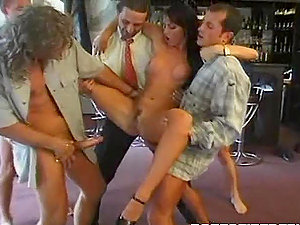 Dark haired Stunner Gets Group-fucked By A few Dicks