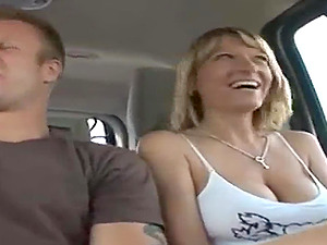 Blonde Wife makes a holiday out of his cock in the minivan