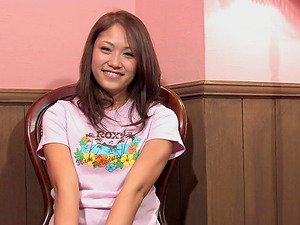 Young brunette babe Iori Mizuki likes to relax on the chair