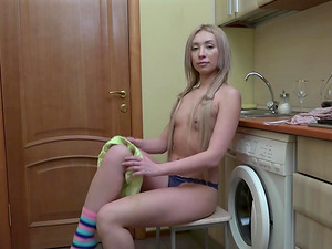 Very pretty amateur chick Angelika gets naughty at home