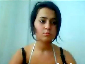Turkish girl enjoys toying her big shaved pussy