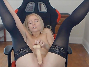 Hot blonde fucking her beautiful pussy while talking dirty to you.