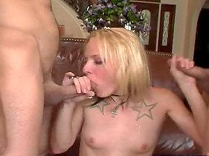 Kinky Insane Blonde Deepthroating Two Peckers in Threesome