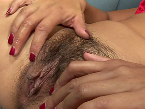 Lucky Starr talks a friend into fucking her hairy pussy