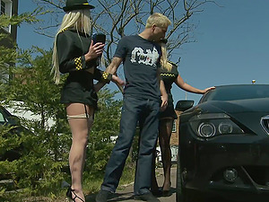 Chelsea Sax and another girl take care of his delicious dick