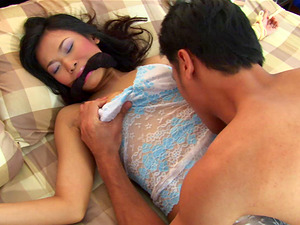 Ae Marikarn gets her hairy pussy drilled with a stiff dildo