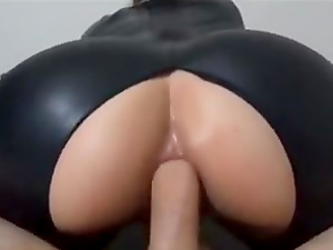 Hot Girl in Catsuit fucked anal and then catching the cum
