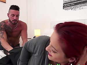 Slutty Italian Mommy fucking in the ass and cumming with big young cock
