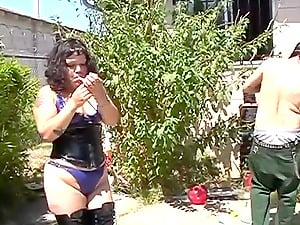 Chubby amateur slut licked and fucked outdoors