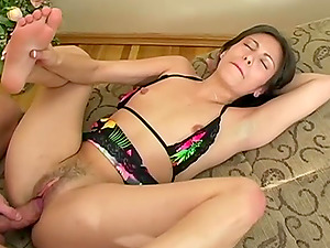 Skinny brunette with small tits and a passion for sex has her tight fuck hole drilled