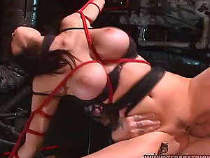 Tied and eyes covered dark haired stunner gets fucked and facialed