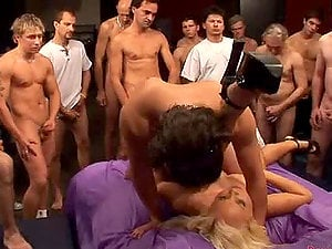 Crazy blonde chick getting fucked hard by 50 guys